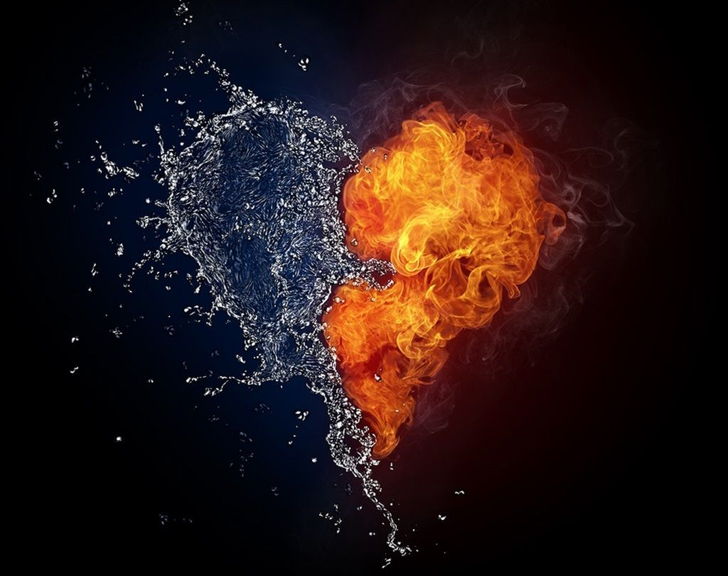 Фото: Сердце символа вода и огонь