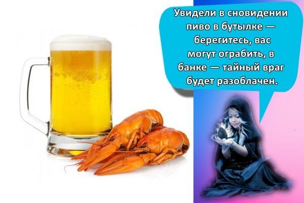 Увидели в сновидении пиво в бутылке — берегитесь, вас могут ограбить, в банке — тайный враг будет разоблачен.