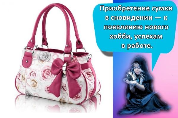 Приобретение сумки в сновидении — к появлению нового хобби, успехам в работе.