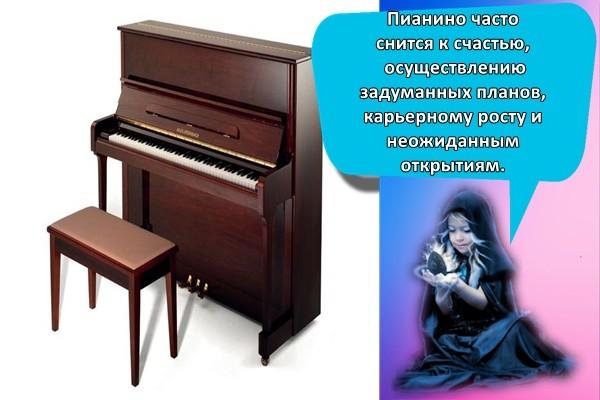 Пианино часто снится к счастью, осуществлению задуманных планов, карьерному росту и неожиданным открытиям.