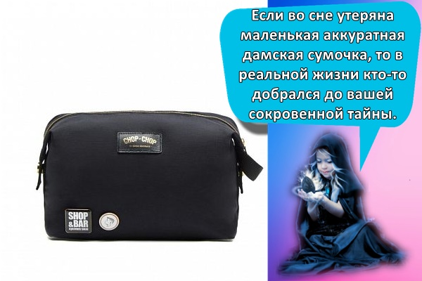 Если во сне утеряна маленькая аккуратная дамская сумочка, то в реальной жизни кто-то добрался до вашей сокровенной тайны.