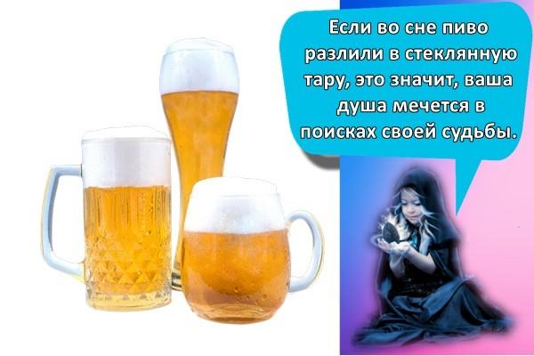 Если во сне пиво разлили в стеклянную тару, это значит, ваша душа мечется в поисках своей судьбы.