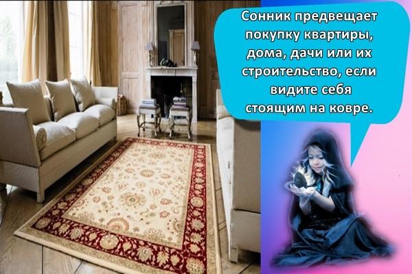 Сонник предвещает покупку квартиры, дома, дачи или их строительство, если видите себя стоящим на ковре.