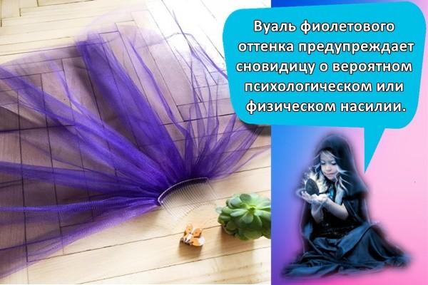 Вуаль фиолетового, лилового или сиреневого оттенка предупреждает сновидицу о вероятном психологическом или физическом насилии