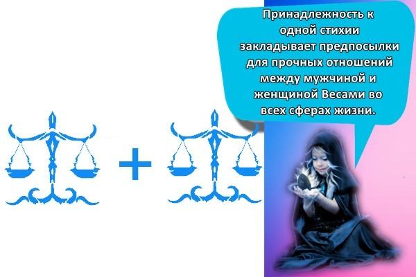 Принадлежность к одной стихии закладывает предпосылки для прочных отношений между мужчиной и женщиной Весами во всех сферах жизни.