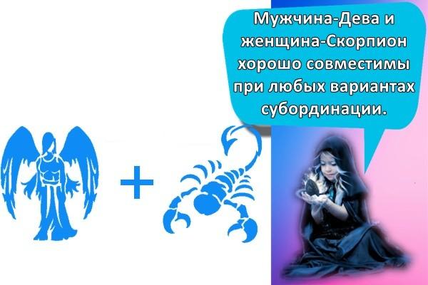 Мужчина-Дева и женщина-Скорпион хорошо совместимы при любых вариантах субординации.