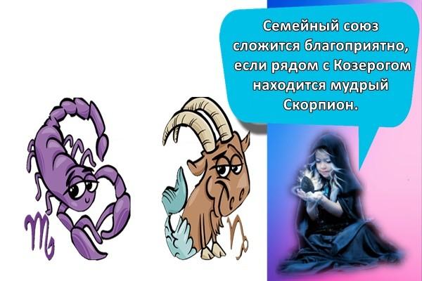 Семейный союз сложится благоприятно, если рядом с Козерогом находится мудрый Скорпион.