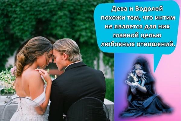 Дева и Водолей похожи тем, что интим не является для них главной целью любовных отношений.