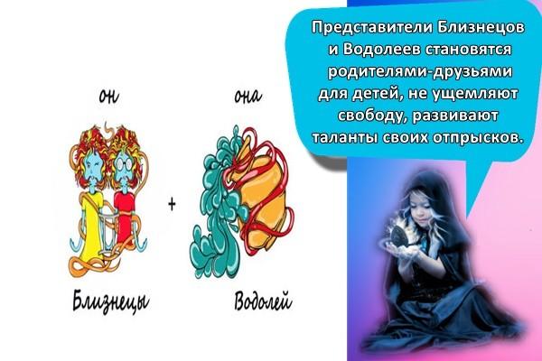 Представители Близнецов и Водолеев становятся родителями-друзьями для детей, не ущемляют свободу, развивают таланты своих отпрысков.