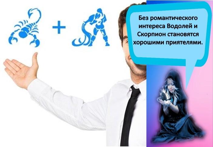 Без романтического интереса Водолей и Скорпион становятся хорошими приятелями.